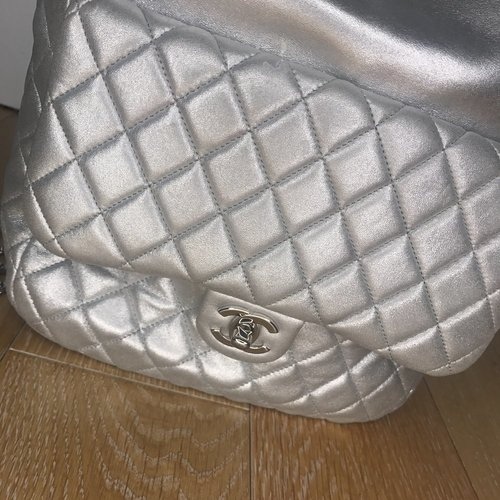 fbd3bc7bb19f Chanel Backpack Metallic Quilted In Seoul Silver Lambskin Leather Backpack