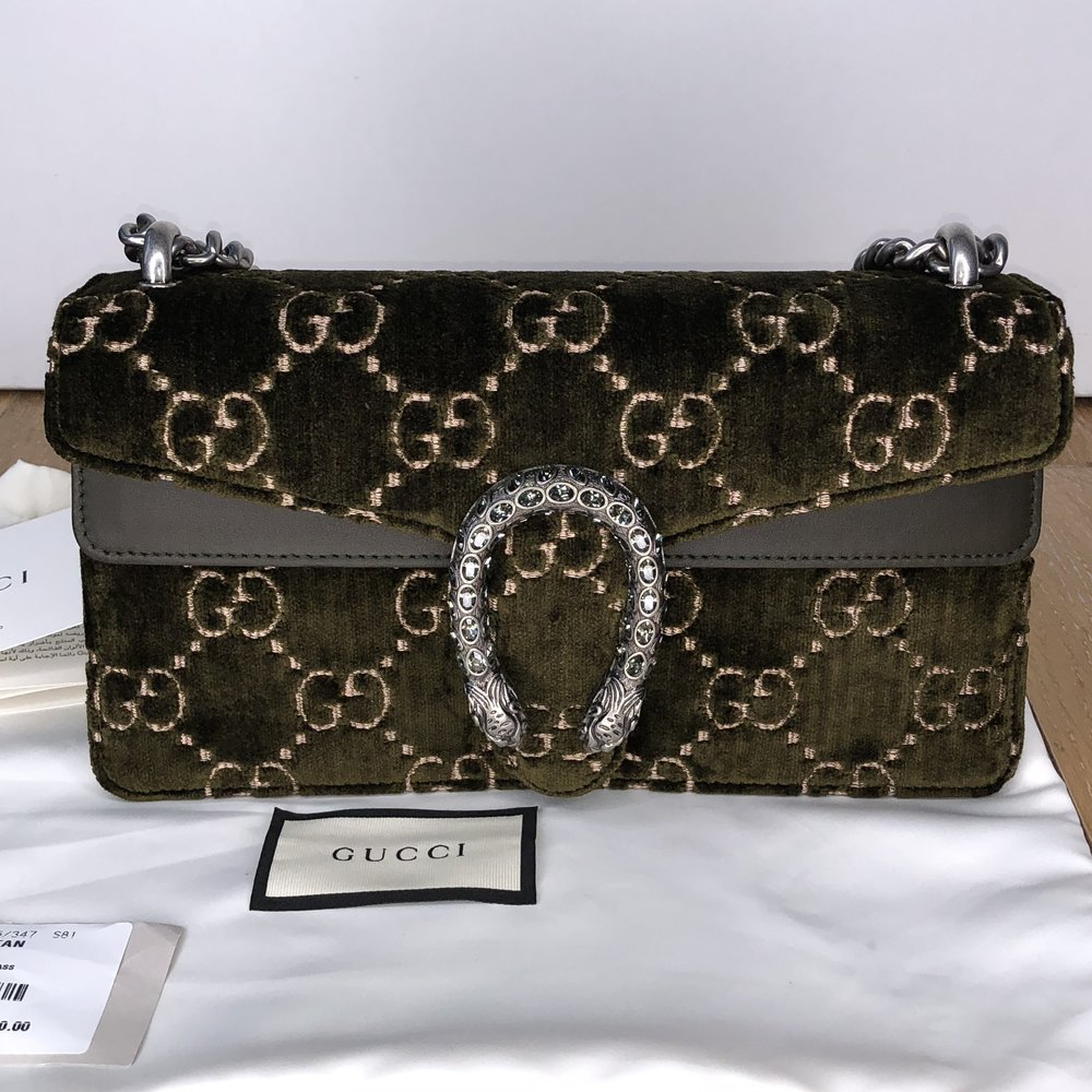 f14d01b72 GUCCI - Dionysus GG Velvet Shoulder Bag - Olive — Olori Swank