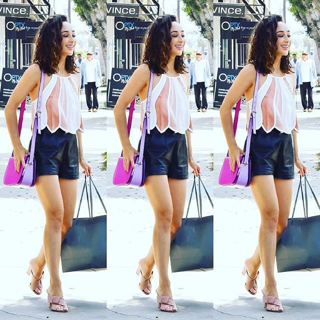 The gorgeous Cara Santana reminding us to hit the gym this morning because it's #ShortShortsSeason as she leaves the store wearing our AlexanderWang leather minis and a gorgeous @lancelofficial bag #ootd  shorts available in store $225 DM to purchase ! #repost @lionviprelations