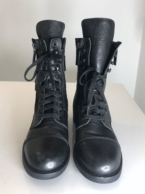 Chanel Quilted Leather Combat Boots Entre Nous Showroom