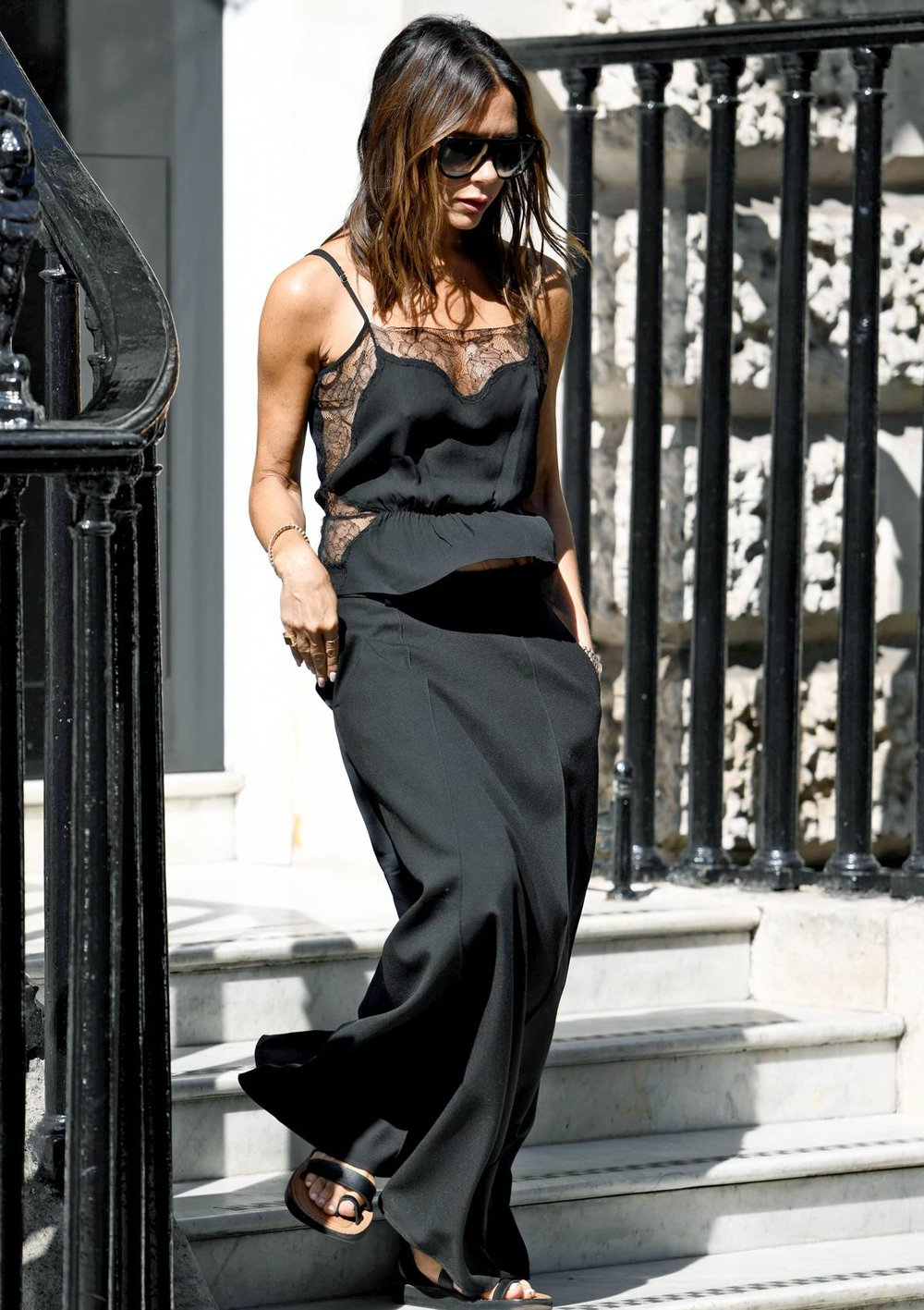 Victoria Beckham's Black Slip Dress Moment - Get the look HERE