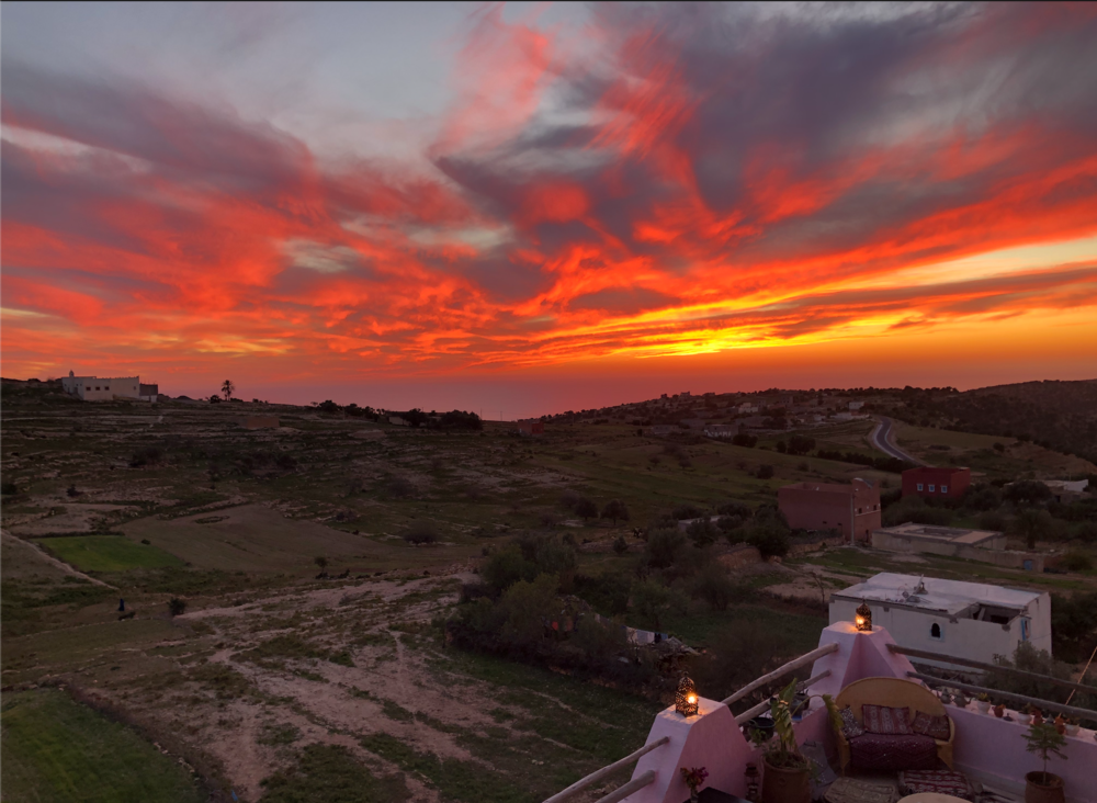 Sunset view from the Tamazirt Villa