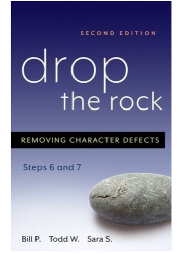 Drop the Rock ($5.95)  I will start by disclosing that I did listen to Drop the Rock as an audiobook and followed along in my actual book. I'm not sure how that affected my experience of the book, but when I wanted to read it I was stuck in bed sick. For me listening to this book I got a lot of good advice from how important exercise is (link other article here) to how I can deal with my most glaring character defects. When I did my steps I felt immense relief when I finished my 6th step (Step Six-
