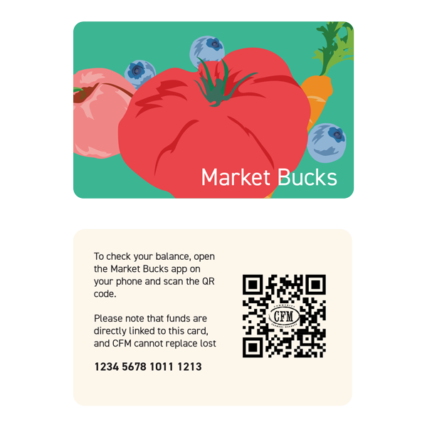 The Market Bucks Card is designed to be similar to a regular credit card, and  uses a QR Code so that vendors would not have to buy new equipment to swipe it.
