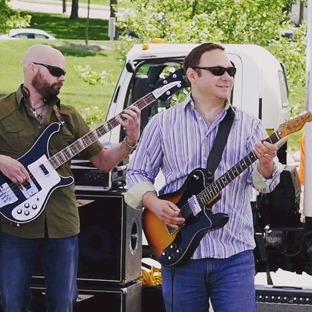 Dan and Bob from today's show. #outsidereality #rockband #ctbands #band #rocknroll #rock #fender #fendertelecaster #rickenbacker #rickenbackerbass #guitar #guitarist