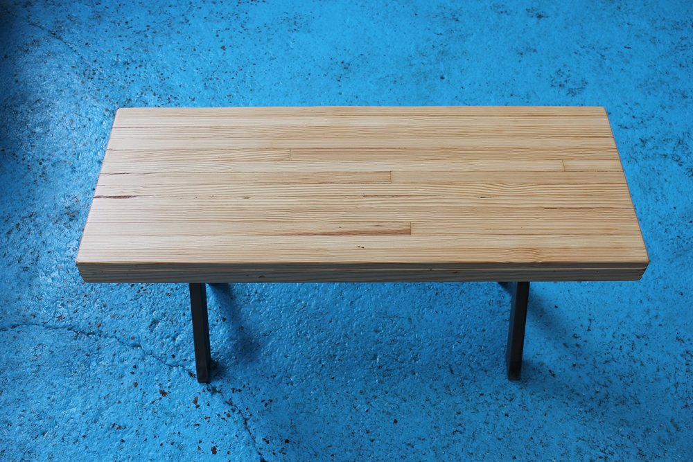 reclaimed bowling alley bench or table