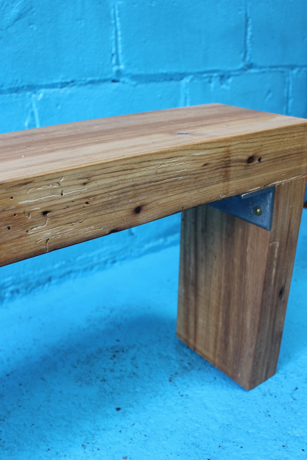 salvaged birch beam entrance bench application
