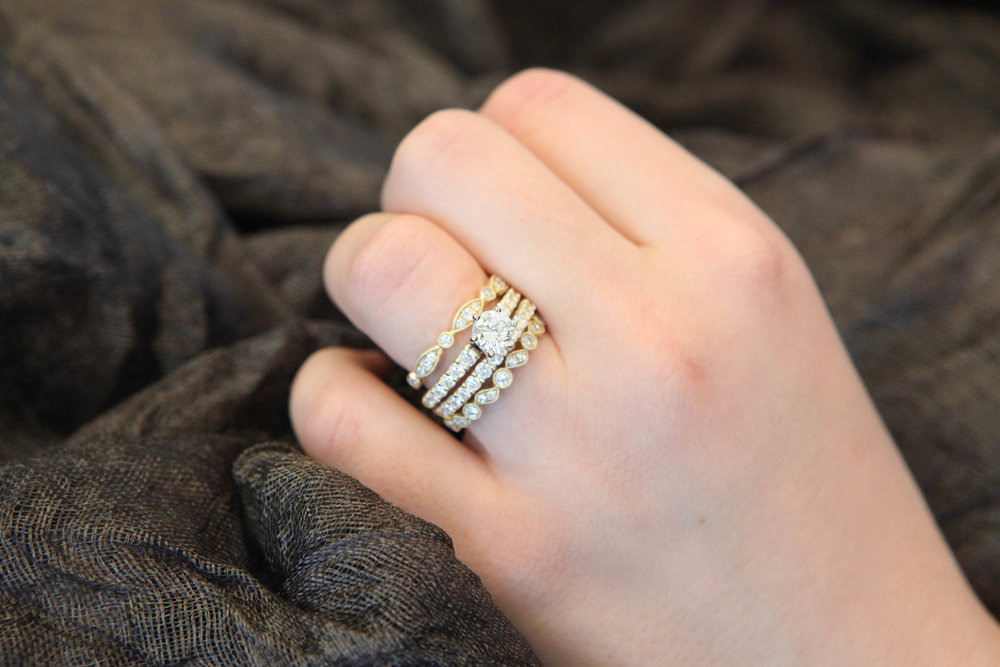 14K Yellow Gold Solitare Diamond Engagement Ring: featured with matching 14K Yellow Gold Diamond Wedding Band plus two additional 14K Yellow Gold Stackable Wedding Bands