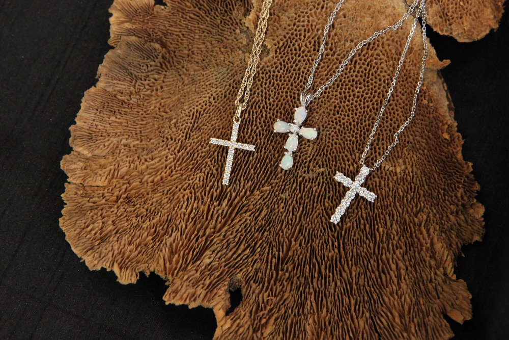 Yellow Gold Diamond Cross, Opal Cross, White Gold Diamond Cross