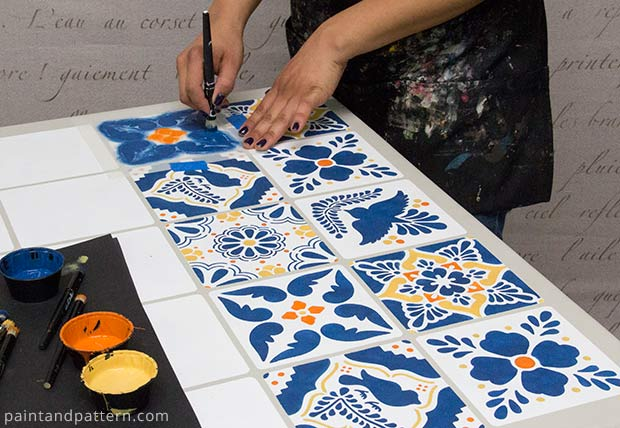 http://paintandpattern.com/stencil-mexican-talavera-tile-table/
