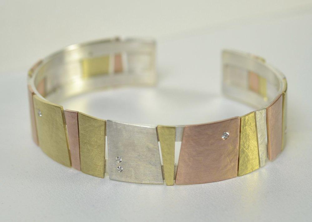 cuff, multi colored gold, silver, diamond