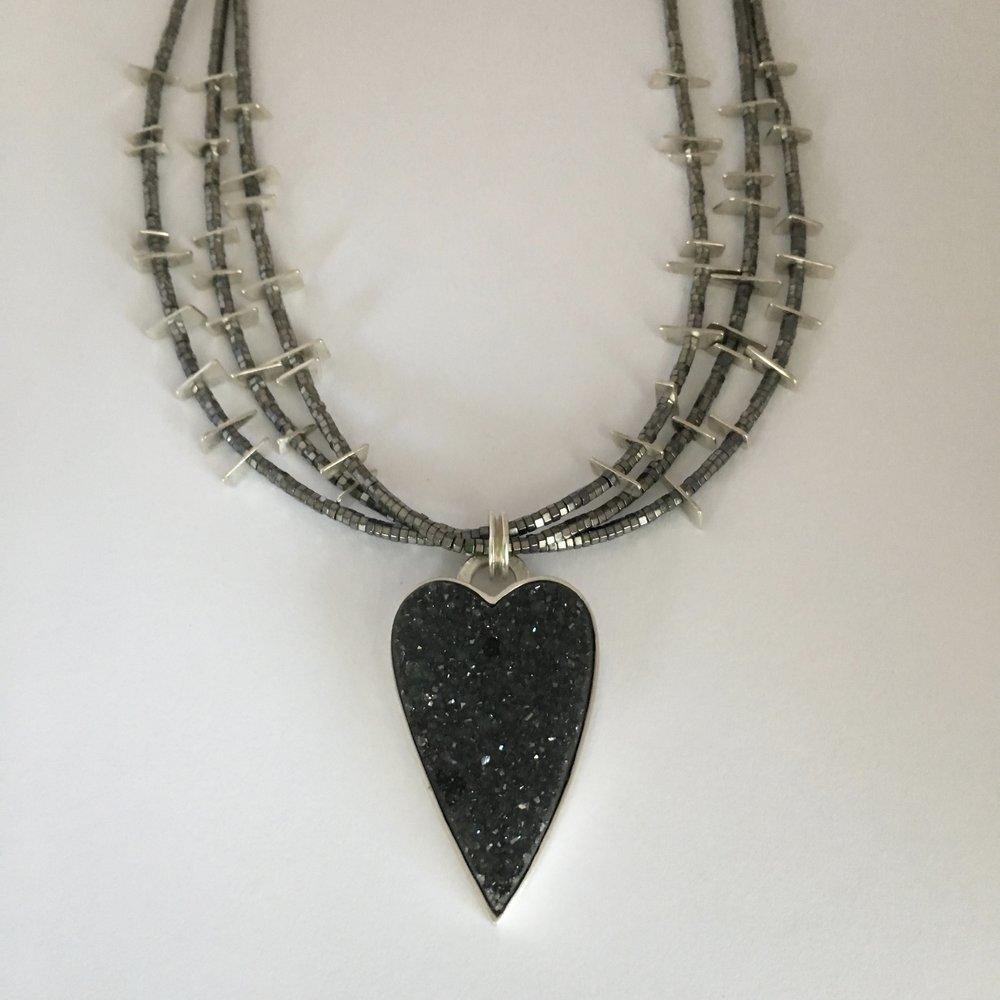 silver, druzy, hematite