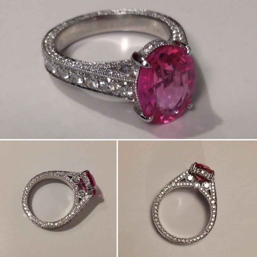 platinum, diamond, padparadscha sapphire