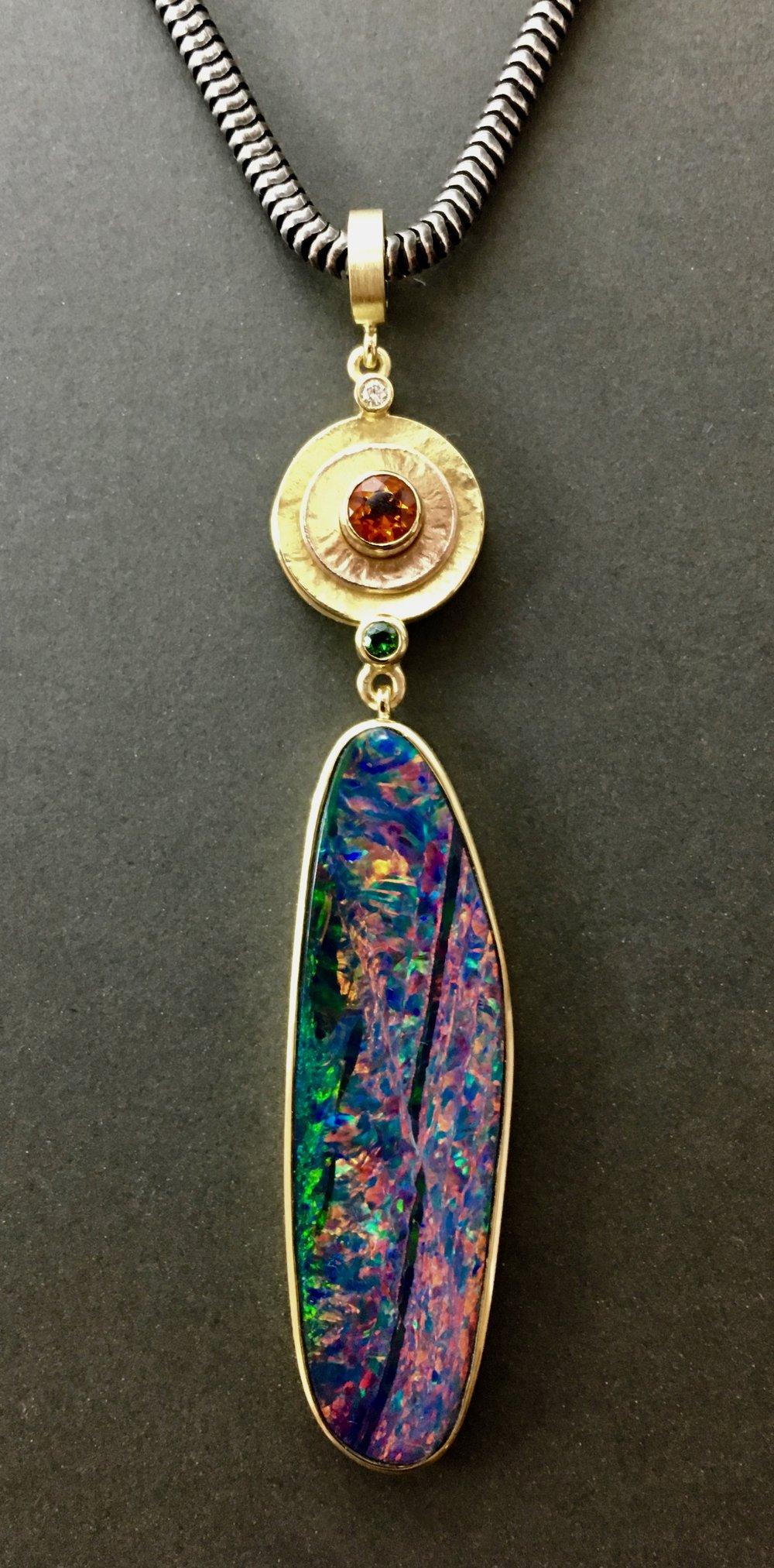 multi colored gold, opal, fire opal, tsavorite garnet, diamond