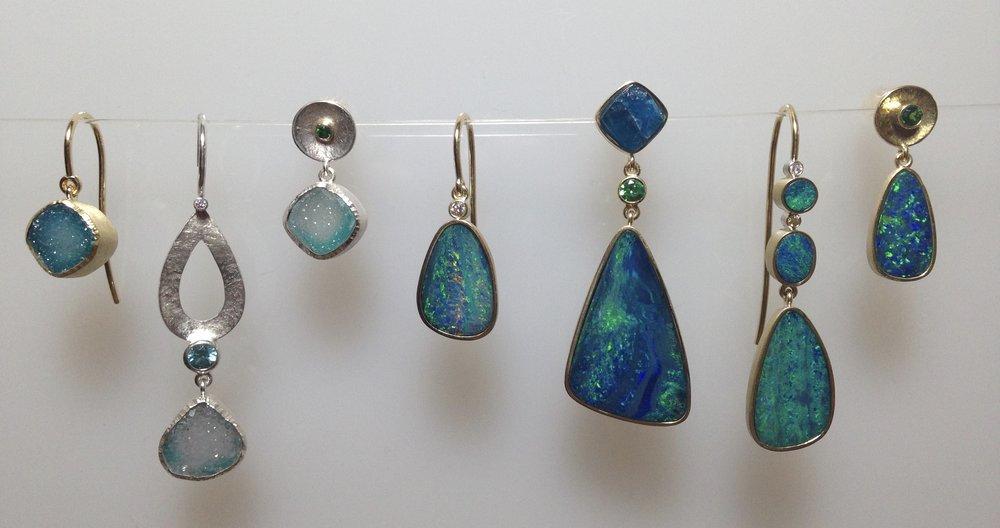 18kt yellow gold, silver, druzy, opal, blue zircon, tsavorite garnet, diamond