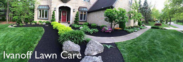 Panoramic front yard shot, complete lawn maintenance by Ivanoff.