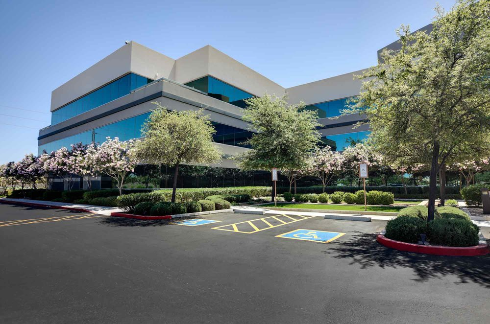 Commercial landscape front parking lot, landscaping services by Ivanoff Lawn Care and Landscaping