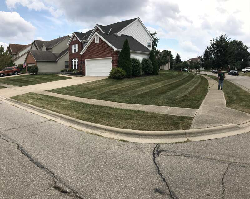 Residential corner of front yard, lawn care and landscape services by Ivanoff.