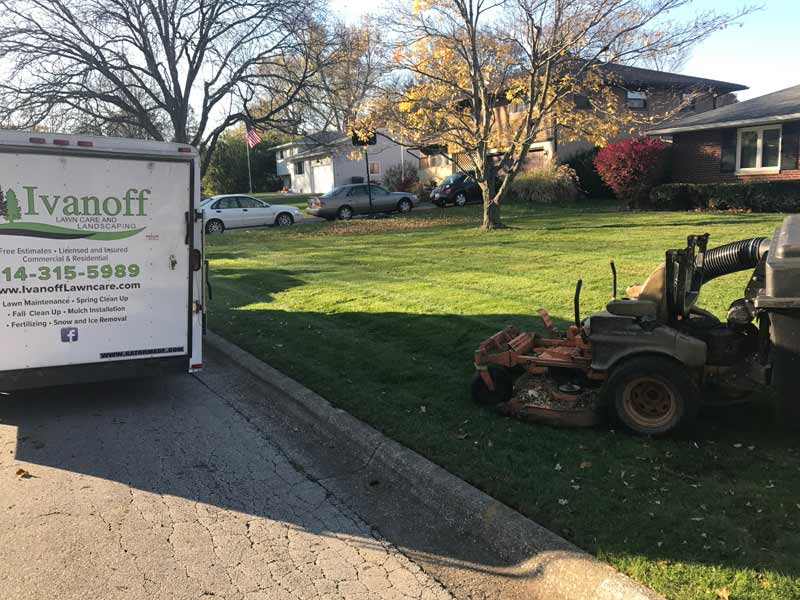 Lawn, Trailer and Mower of Delaware landscape company Ivanoff Lawn Care and Landscaping.