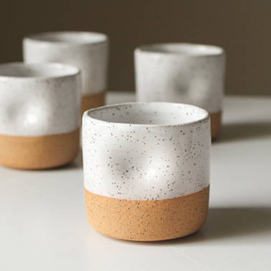 Speckled Ceramic Cup with Thumb Hold
