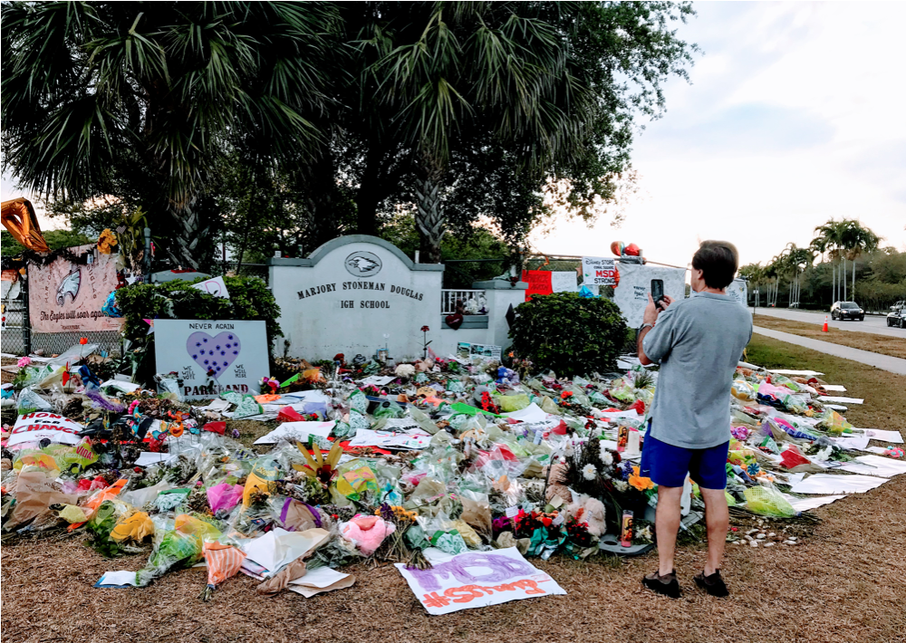 Memorial at Marjorie Stoneman Douglas School, Parkland, FL.