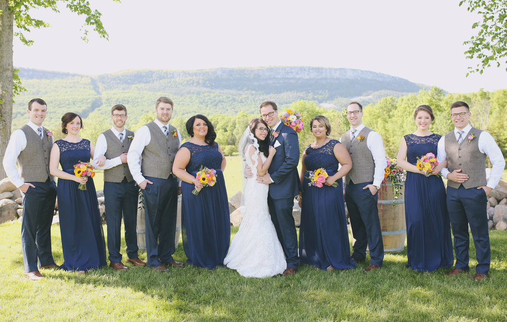 Bridal Party standing in front of Shawangunk Mountain.