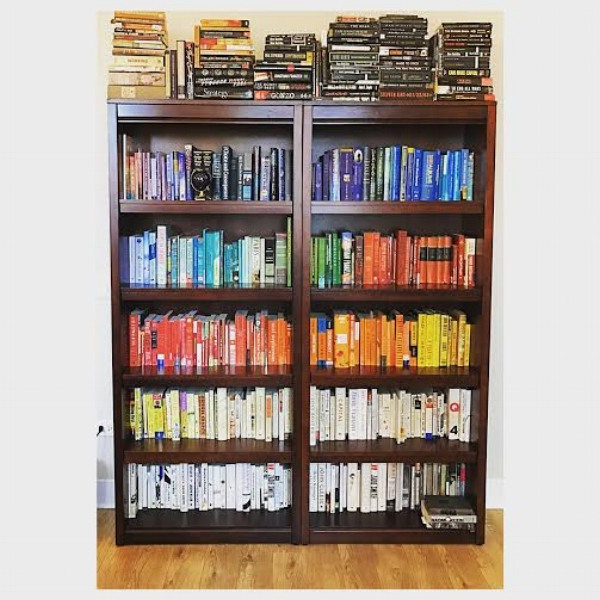 As You Can See In The Below Photo Of Stephs Shelves We Stacked All Black Books On Top To Help Conserve Color And Save Room For Colorful