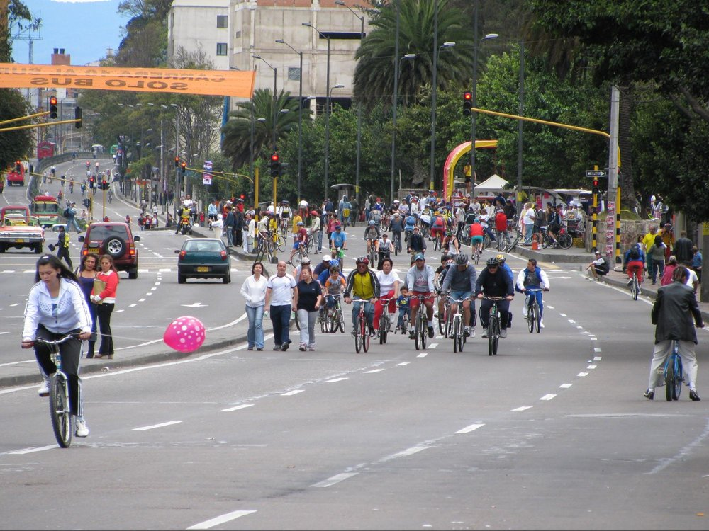 """Ciclovías Recreativas"" or ""Car Free Days"" in Bogotá. Photo courtesy of Sustainable Cities International."