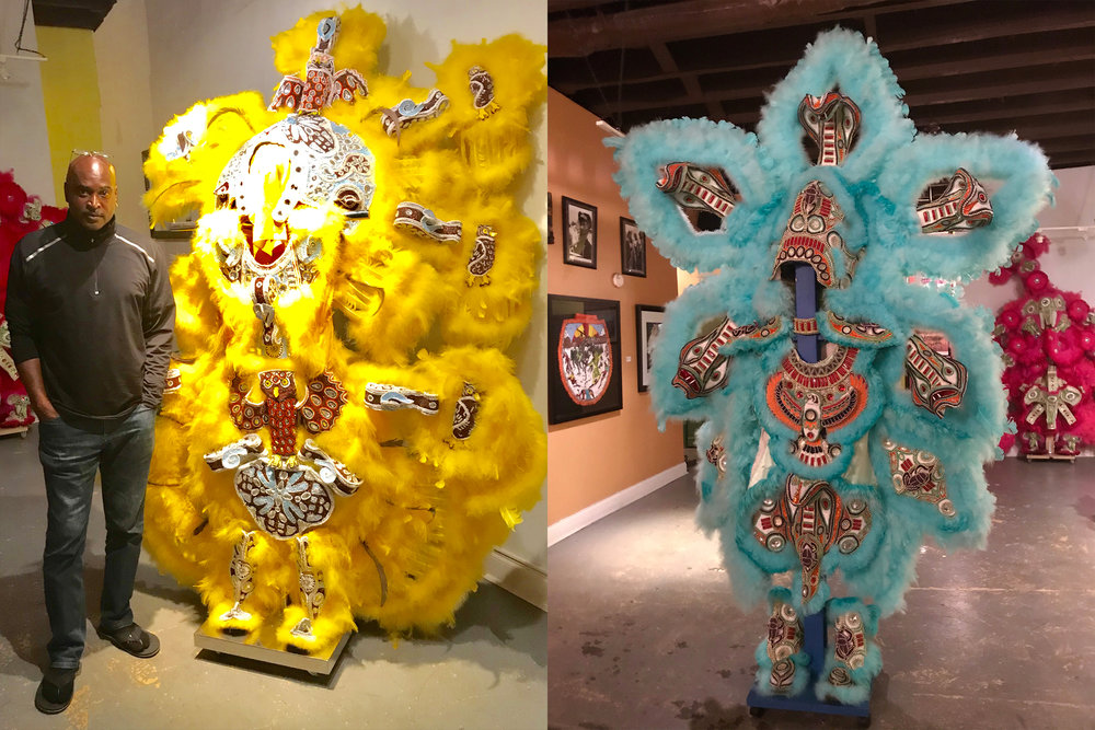 Big Chief Shaka Zulu in his gallery, Golden Feather, on N. Rampart Street, New Orleans