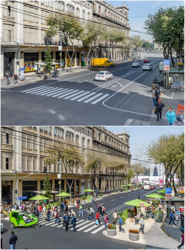 Before and after: Side lanes of busy Avenida 20 de Noviembre were converted into pedestrian seating. Photo courtesy of AEP.
