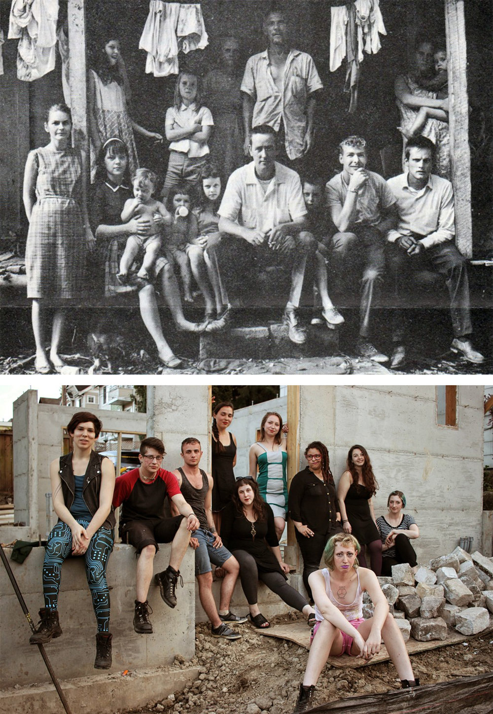 Above: Extended family in Appalachia.Below: Seattle-based queer and trans art collective, Lion's Main.