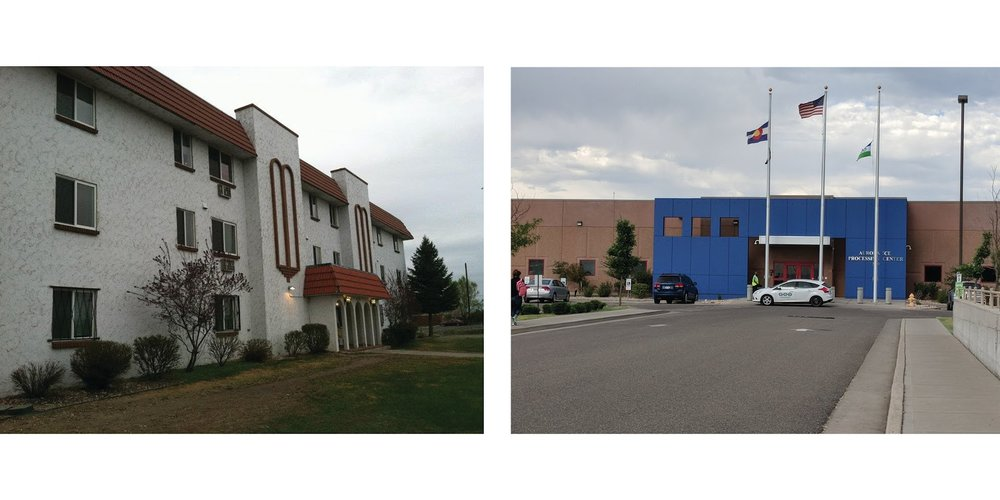Left: The apartment complex that Casa de Paz began in. Photo courtesy of the author. Right: ICE Processing Center in Aurora, CO. Photo courtesy of Sonia Gupta.