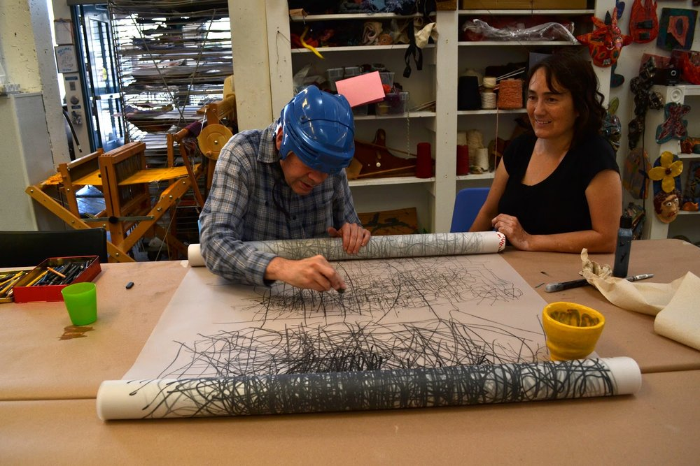 Artist Dan Miller with Studio Instructor Veronica Rojas