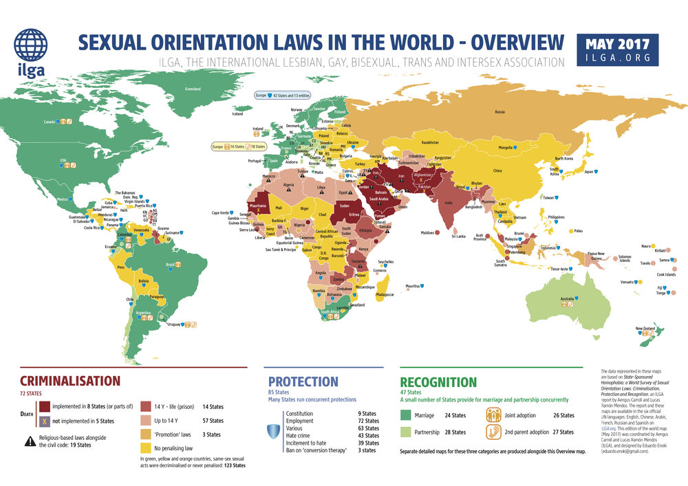 An international survey of sexual orientation laws: criminalization, protection and recognition. (Carroll, A. and Mendos / ILGA)
