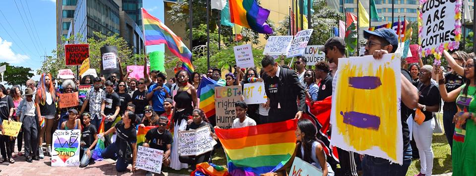 "Activists in Trinidad and Tobago demonstrate against colonial era ""Sexual Offense"" laws in 2018. (Gay Pride Trinidad and Tobago)"