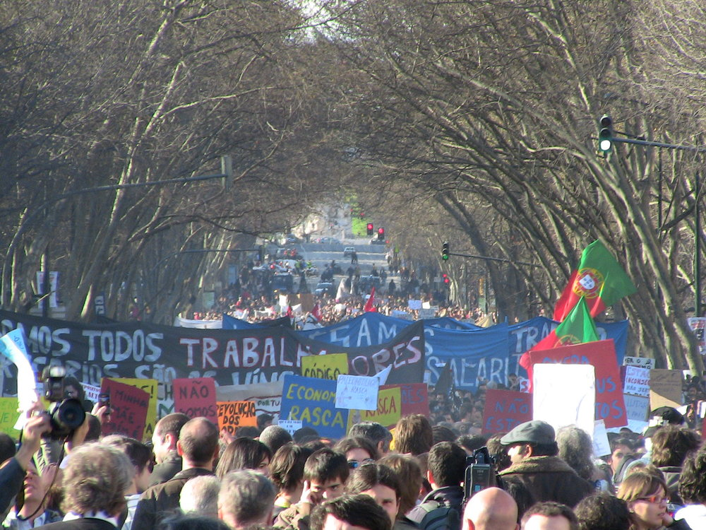 One of the most successful demonstrations in Lisbon in March of 2011 demanding the end of austerity policies. (Mark Fonseca Rendeiro/Flickr)