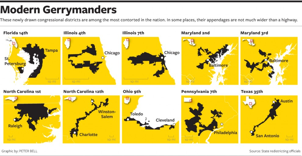 Illinois, Maryland, North Carolina, Ohio, Pennsylvania and Texas districts (Peter Bell / National Journal)