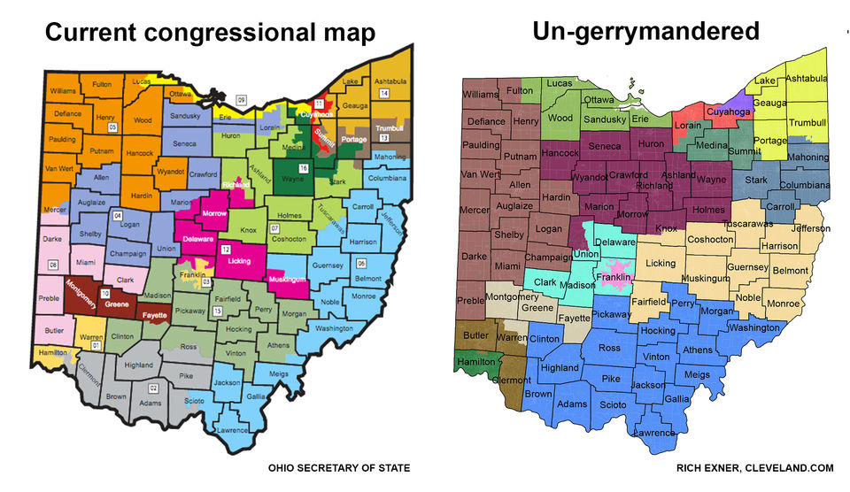 Comparison of Ohio congressional districts. (Cleveland.com)