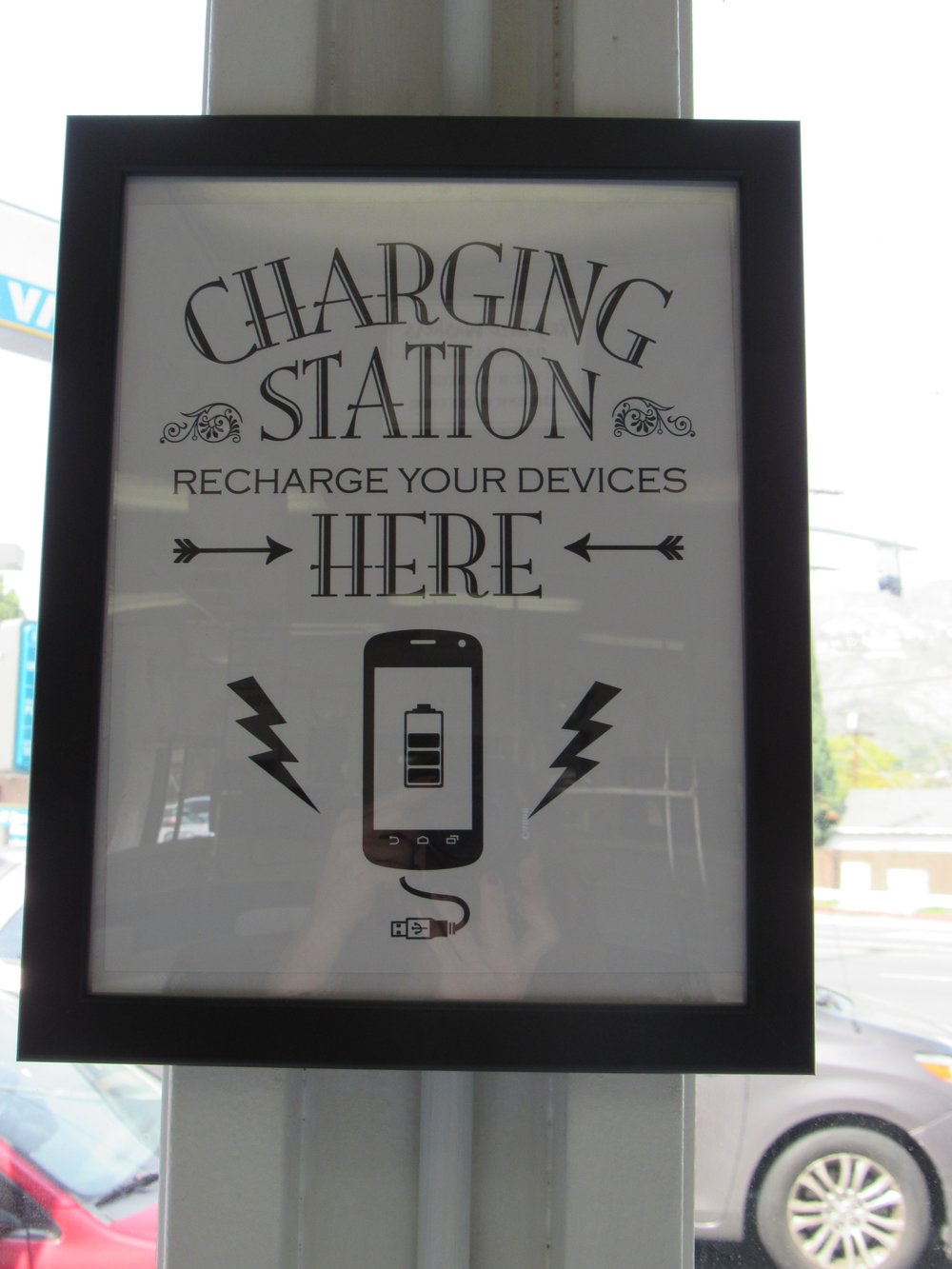 CHARGING STATIONS -  charge up your devices so you never run out of battery! we wouldn't want you to miss out on that important call or streaming movie final scene!