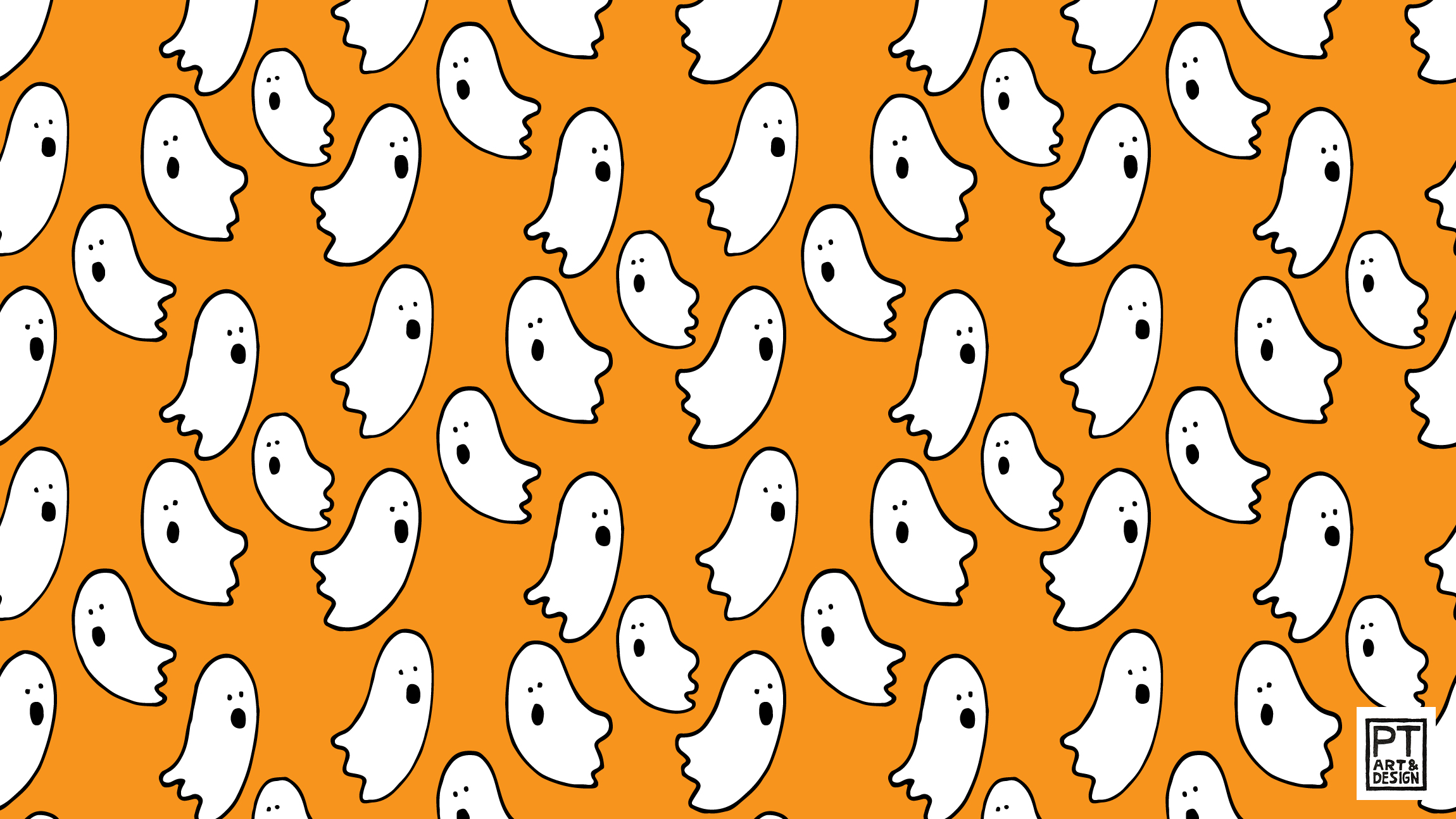 White ghosts on orange background