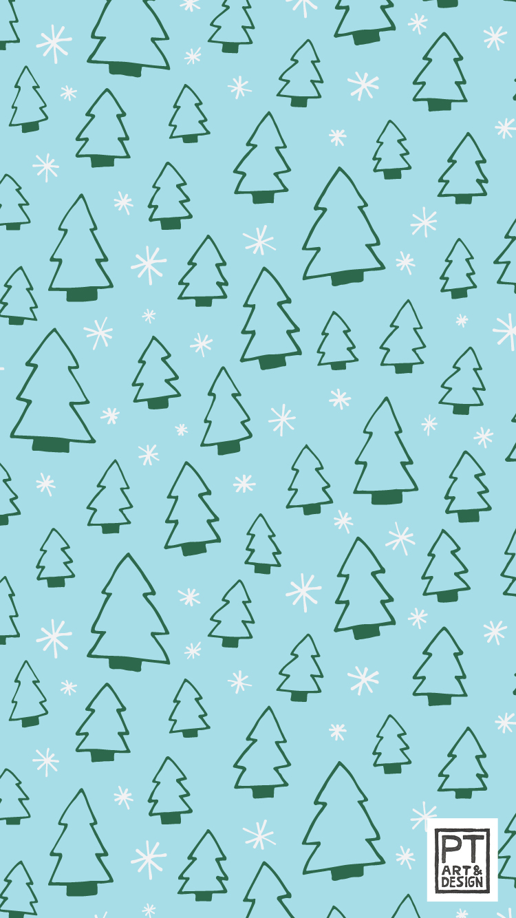 Pattern of fir trees and snowflakes on a blue background