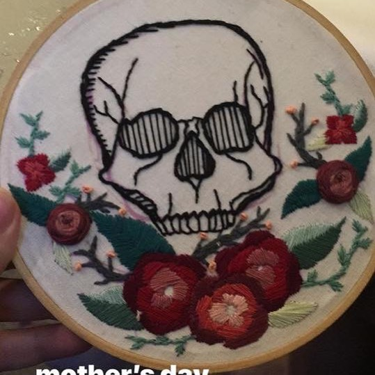 My #mothersday gift from my #Daughter #skull #future #tattoo #horror #haunt #halloween #monster #skeleton #scary #haunter #haunterslife #monsterforlife #likemotherlikedaughter #mydaughter gets me #needle #needlepoint #crossstitch #rose @mean_dauphine #ilovemydaughter #ilovemygift #presents