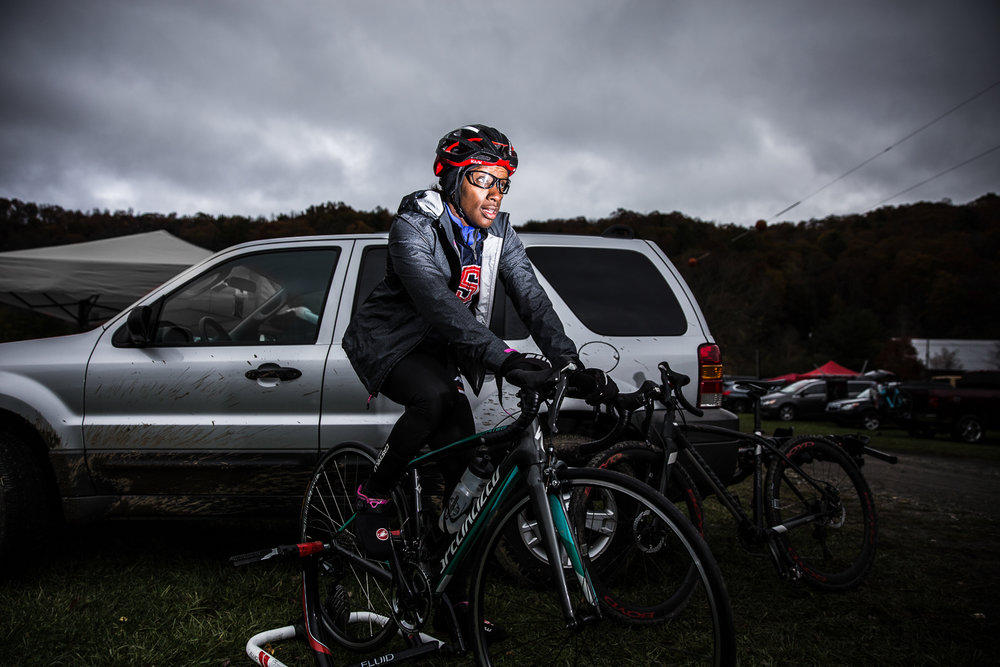 Tanya Harris prepares for her race to follow at the OrthoCarolina NC Cyclocross 2017-2018 in Boone, North Carolina on October 29, 2017. (Photo by Dan Busey)