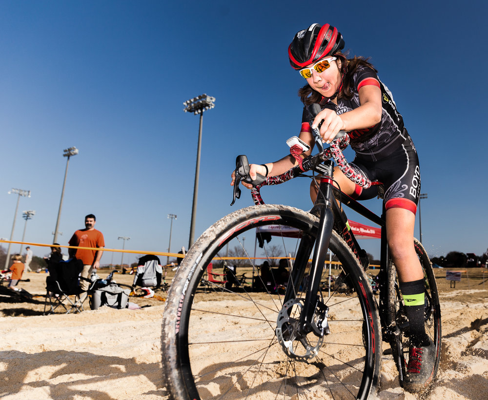 Keren Bennett races through the sand pit during the 2017-2018 OrthoCarolina North Carolina Cycle-Cross in Charlotte, North Carolina on December 13, 2017. Bennett is currently 24th in standings with 488 points. (Photo by Dan Busey)
