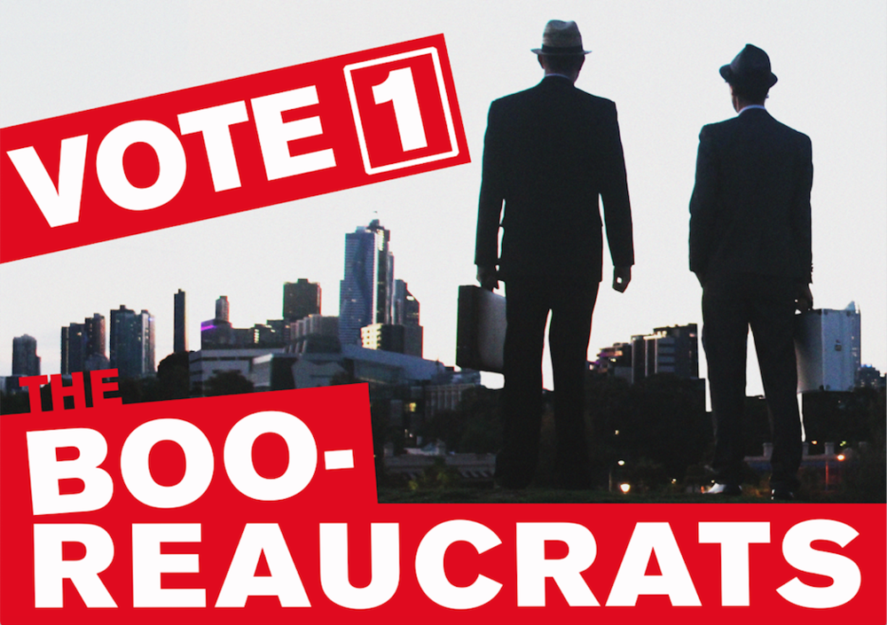 Vote 1 The Booreaucrats  (poster) at BOO, The Bureau for the Organisation of Origins, AAANZ, Melbourne, 2018 (with Ben Sheppard).