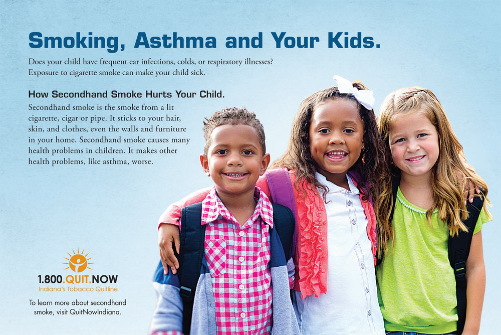 Smoking, Asthma, Kids Palm Card