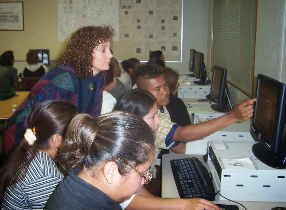 Literacy students working on projects