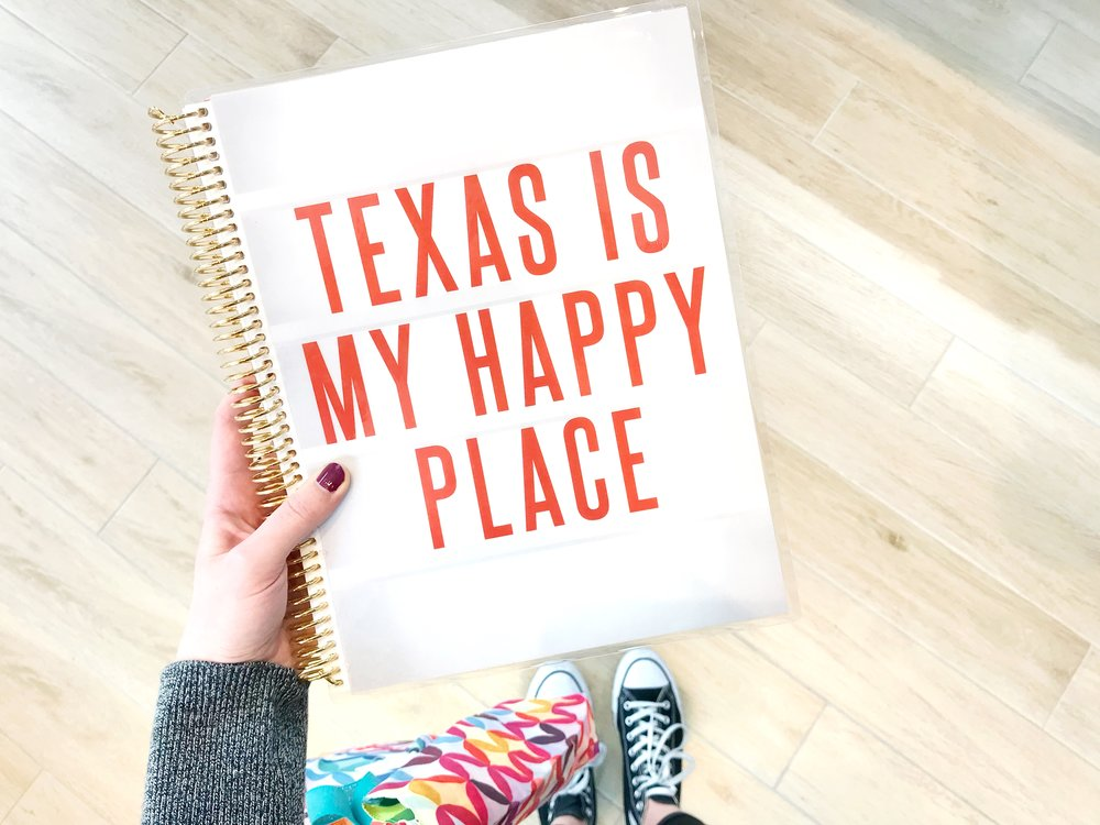 """I fell in love with all of the Texas-themed merchandise that was on display. This pretty thing is an 8.5x11"""" personalized """"Marquee"""" Interchangeable Cover."""