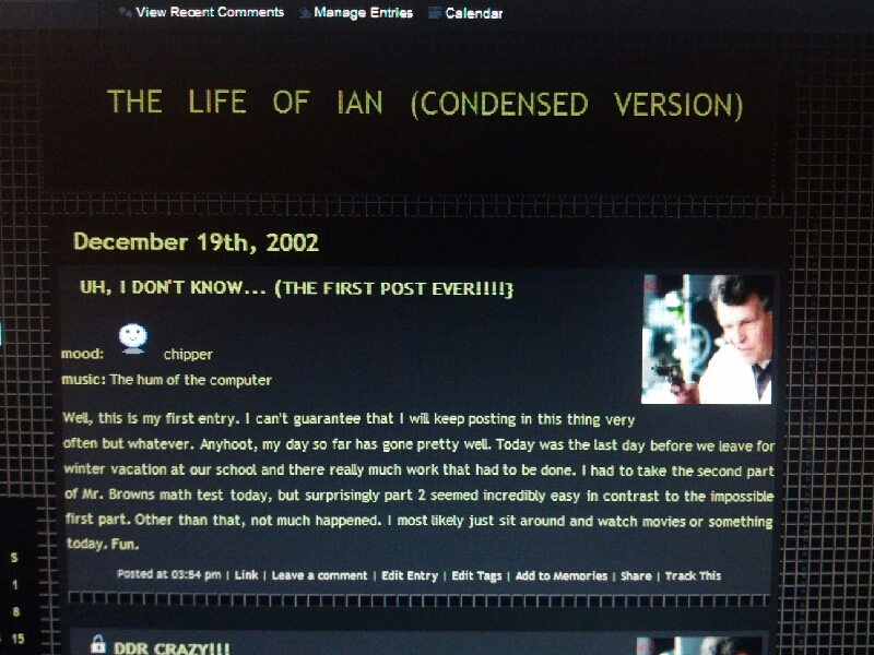 My first blog post, from the day after my birthday 2002.