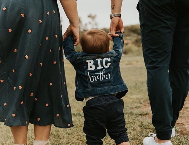 another big brother to be. congratulations to @k_elseywinchester & her hubs on baby number 2 coming in august! #tinydenim #copperstonepainteddenim
